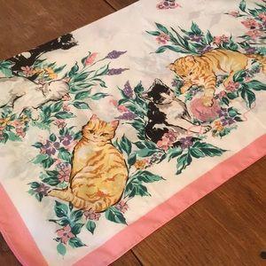 True Vintage Kitsch kitten cat scarf, pink trim